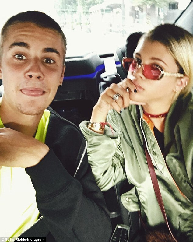 Their time: Sofia and Justin snapped a selfie together earlier this summer