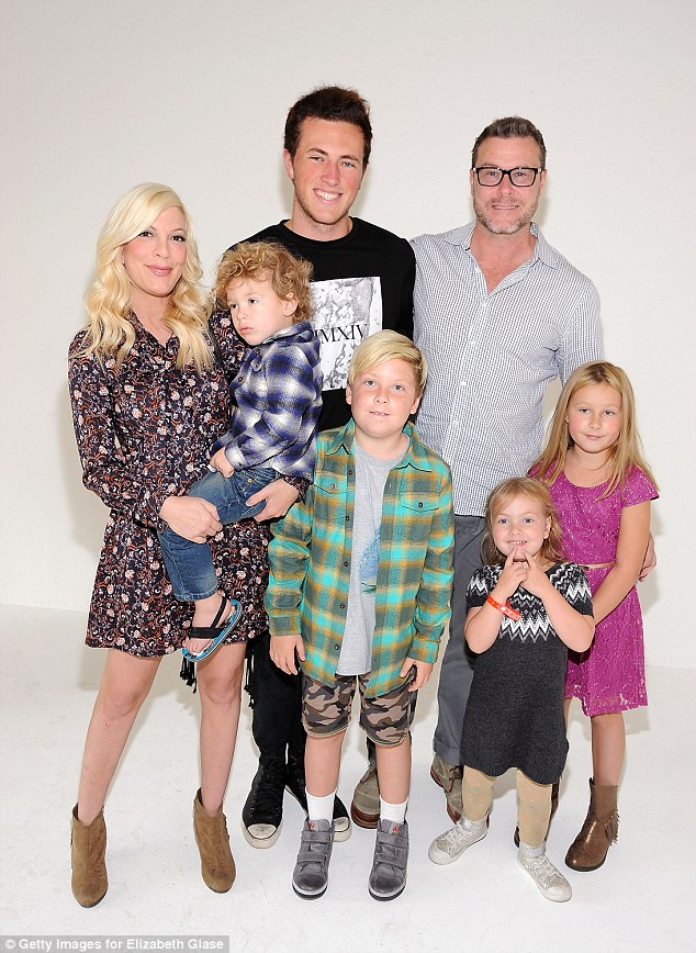 Big family: Tori Spelling is expecting her fifth child with Dean McDermott - pictured in October 2015