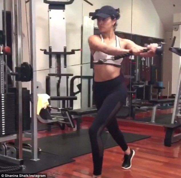 Maintaining her toned physique: Shanina is often pictured breaking a sweat during gruelling gym excersises