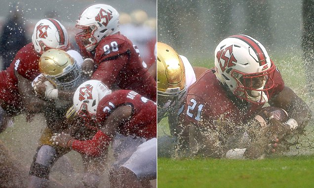 60,000 fans watch North Carolina State play Notre Dame during Hurricane Matthew