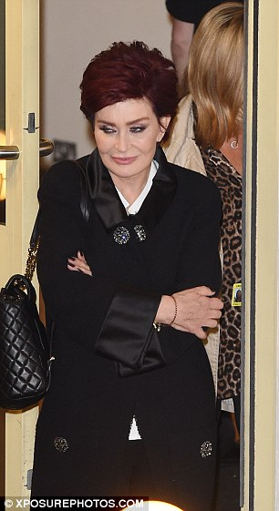 Panel matriarch: Sharon's eccentric behaviour during the show didn't go unnoticed by fans, but the no-nonsense star looked relaxed as she left in a stylish black coat