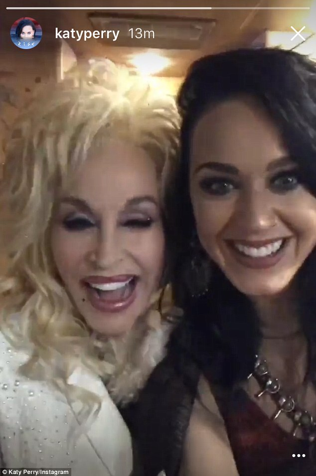 Gleeful: Katy Perry got to rub shoulders with Dolly Parton backstage before her idol's concert at the Hollywood Bowl on Saturday