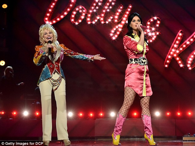 In tune: Katy and Dolly performed a duet at the ACM Awards in Las Vegas on April 3 this year