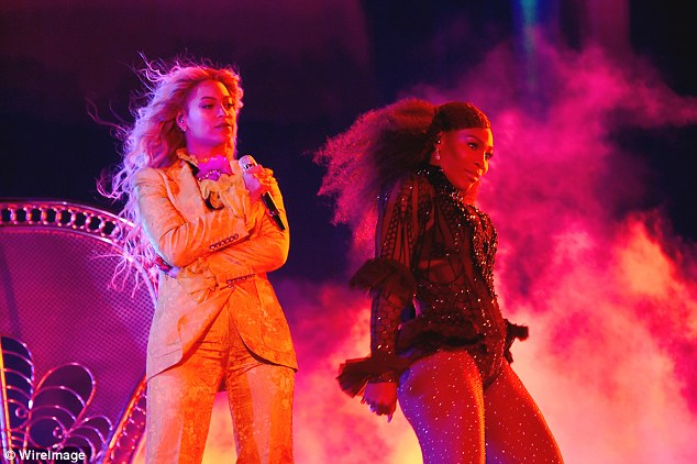Serving attitude: Serena Williams, 35, took a 'Lemonade' break from her tennis duties as she joined Beyonce in the last show of her Formation World Tour on Friday night
