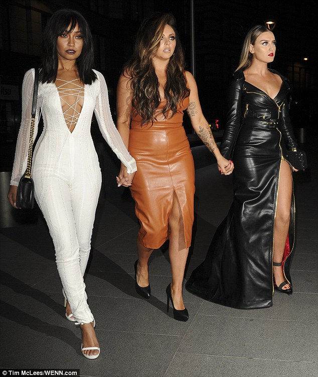 Girls night out: Perrie was joined by the birthday girl Leigh-Ann Pinnock, who turned 25 on Tuesday, and band mate Jesy Nelson, 25 (L-R) - while final group member Jade Thirlwall, 23, was nowhere to be seen