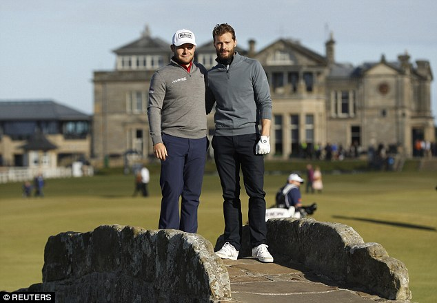 Working well together: He posed for a picture with his pro-golfer playing partner