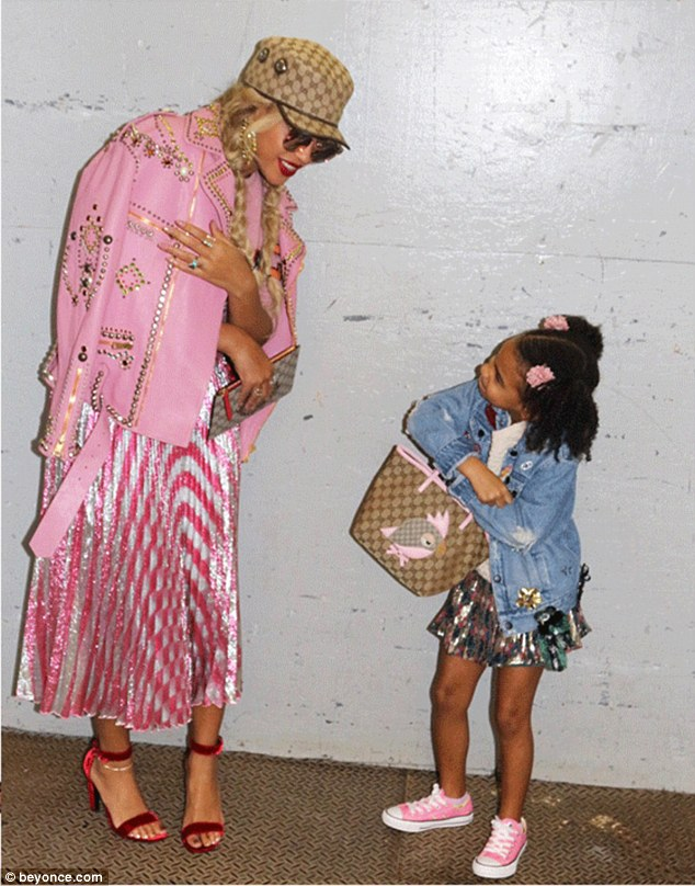 Candy tones: Queen Bey showcased her sense of style in head to toe Gucci