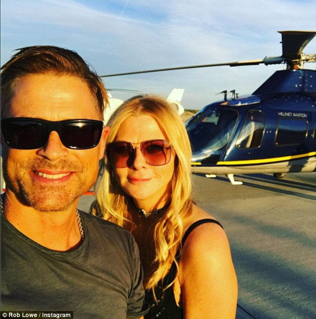 Travelling in style: Fellow A-list star Rob Lowe and wife Sheryl Berkoff also attended the gig, arriving at the Indio based event in a helicopter