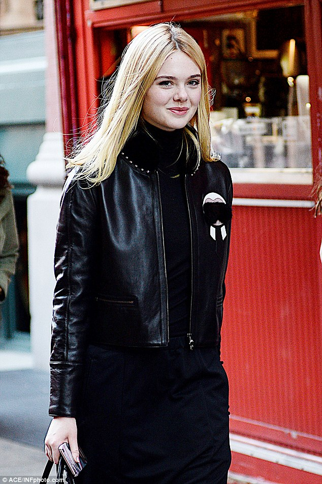 The woman in black: On Friday, Elle Fanning was spotted stepping out in the SoHo neighbourhood of Manhattan
