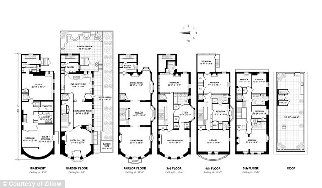 The floor plan shows the full extent of the 5-floor residence - plus roof terrace and basement