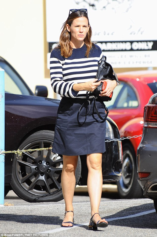 Super stylish: The actress rocked a striped top and skirt as she stepped out in Los Angeles that same day