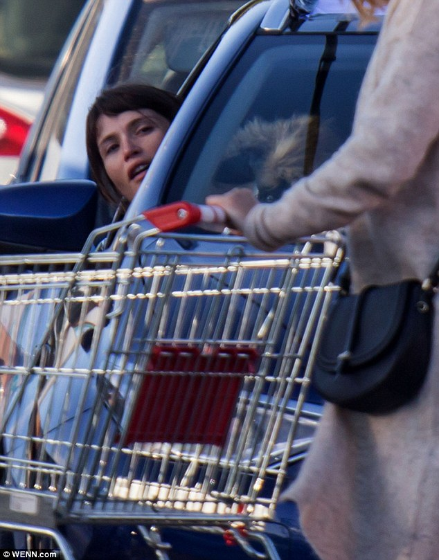 Warming up: Gemma then took to the wheel to film a later scene with a co-star