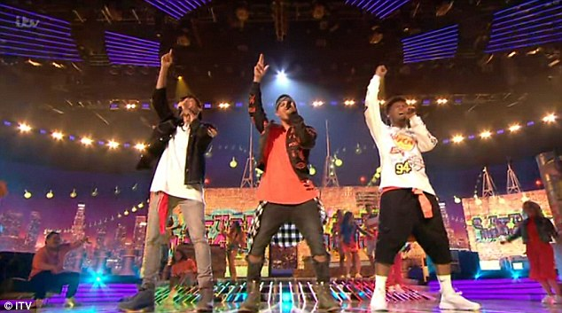 Three's a crowd: Boyband 5 After Midnight were the first to perform on the live episode