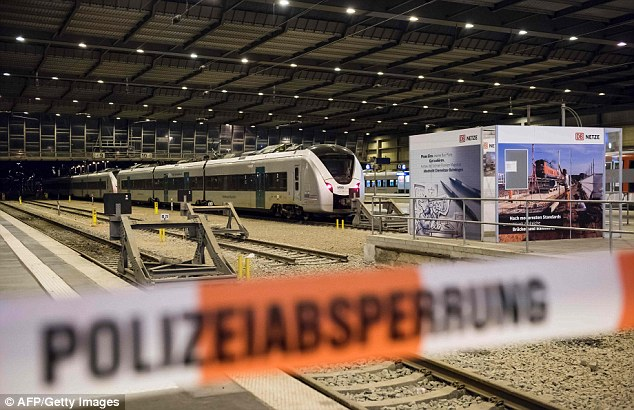 A platform was cordoned off with police tape after the suspicious suitcase was found at a station in Chemnitz