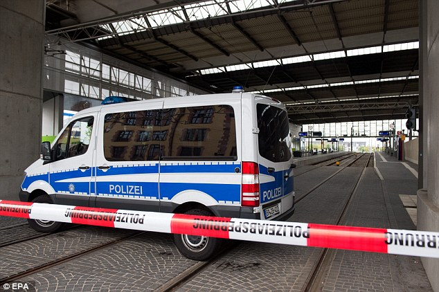 Police cordon off the perimeter of Chemnitz Central Station, eastern Germany