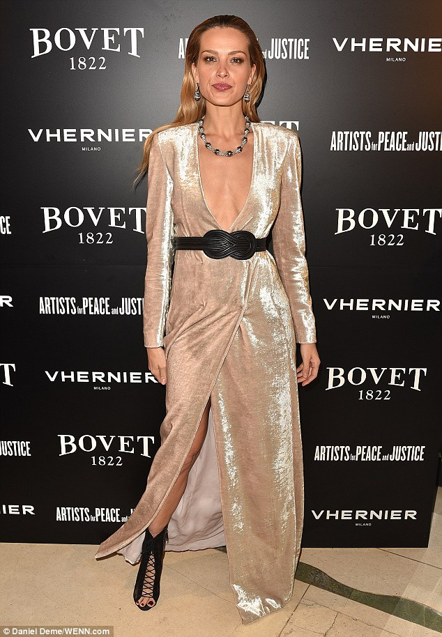 Model behaviour: Petra Nemcova looked every inch the supermodel as she arrived at the bash