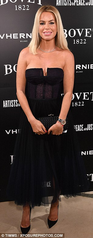 Chic: Ladies Of London star Caroline Stanbury made an arrival in a chic black tulle dress