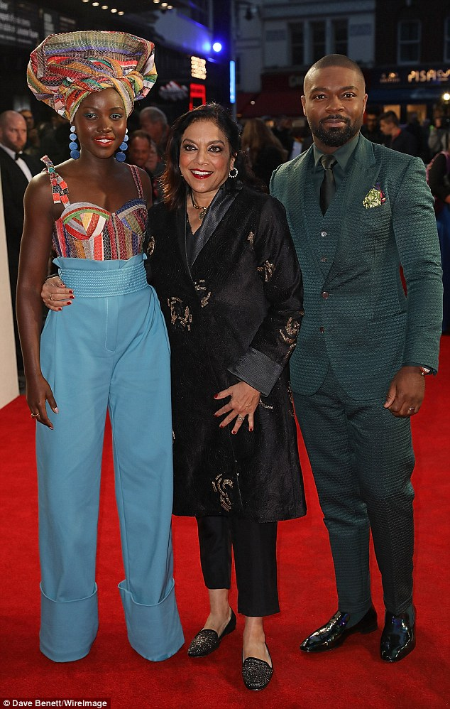 Stylish: They posed alongside the film's director Mira Nair, who wowed in a black ensemble