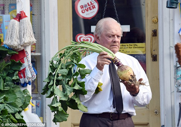 Aghast: David looked worryingly at his prop turnip