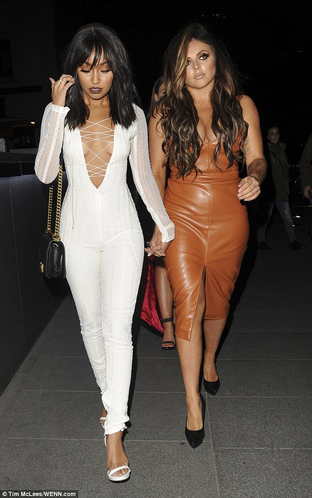 Glamorous: The Black Magic hitmaker went hand-in-hand with her bandmate Jesy Nelson, who looked incredible in a bodycon brown leather number