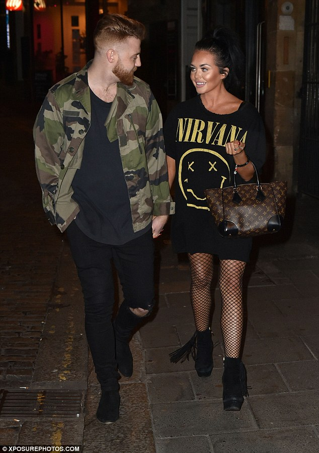 Date night: Scarlett Moffatt looked the picture of happiness as she stepped out hand-in-hand with her boyfriend Luke Crodden on Friday night