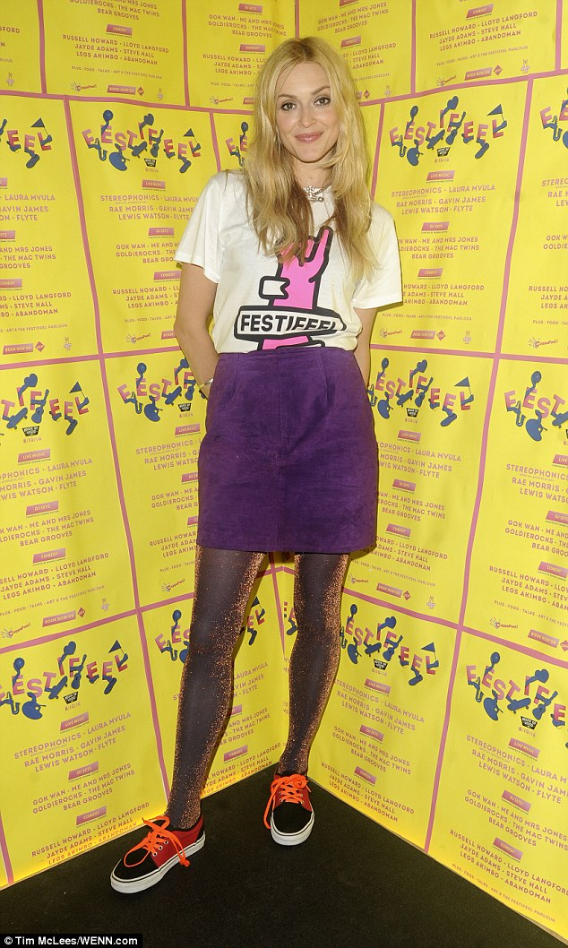 Laid-back look: Fearne Cotton was rocking a quirky ensemble when she partied at the Coppafeel event, held at House of Vans in London on Saturday night