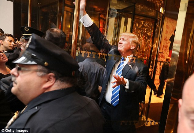 The GOP nominee (pictured on Saturday greeting supporters outside of Trump Tower in Manhattan) also recalled trying - and failing - to seduce a married woman
