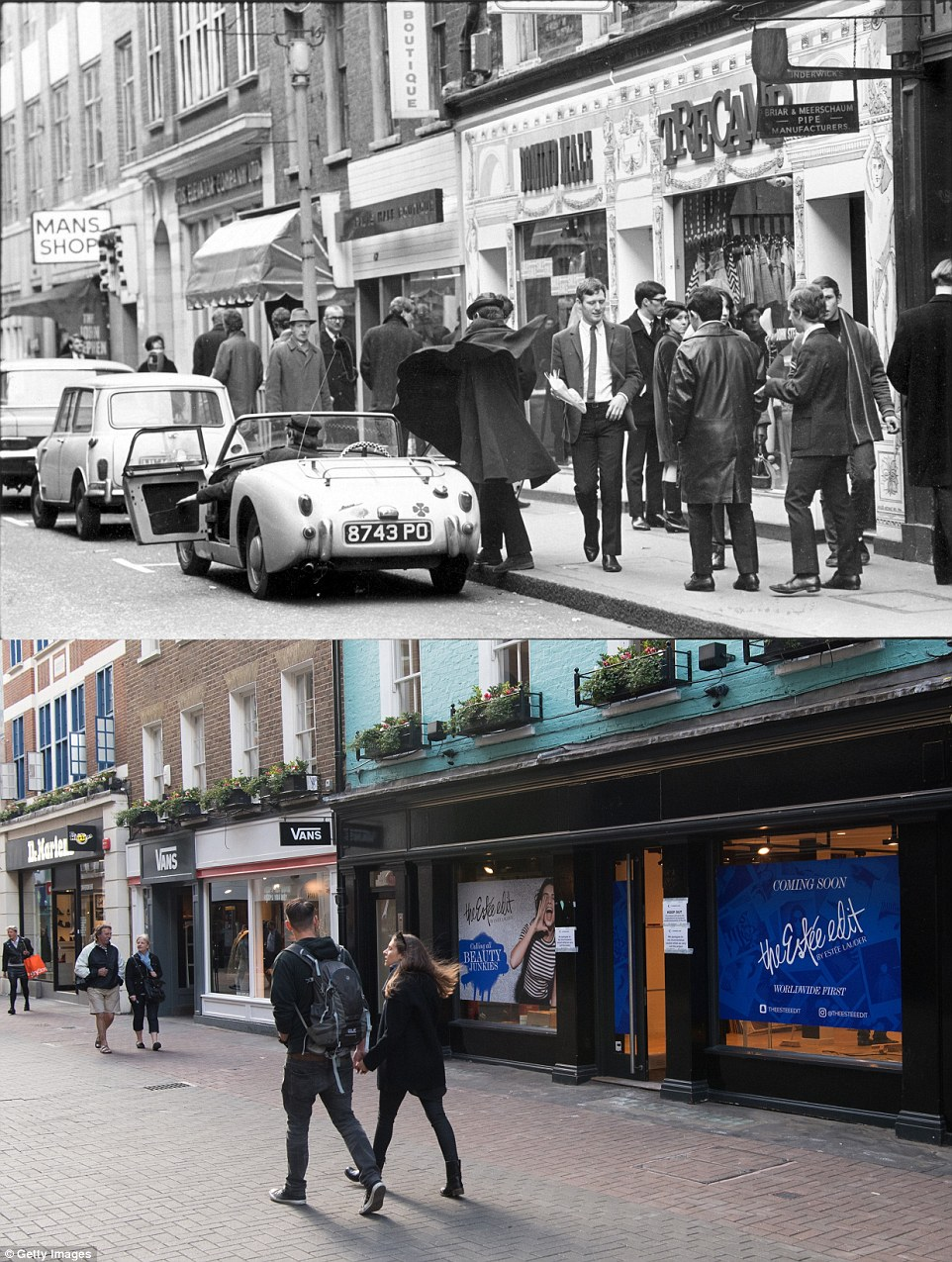 Both of these images show people walking along Carnaby street. In the top image, taken in February 1966, shows a Mod sweeping his cloak around him after getting out of a sports car. As is visible from the bottom image, the road has now been completely pedestrianised