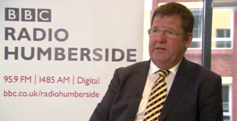 Ukip's Mike Hookem (pictured speaking to BBC Radio Humberside this afternoon) insisted 'no punches were thrown' in the altercation with his colleague Steven Woolfe and played down the incident by claiming 'every party has politicians that fight their corner vigorously'