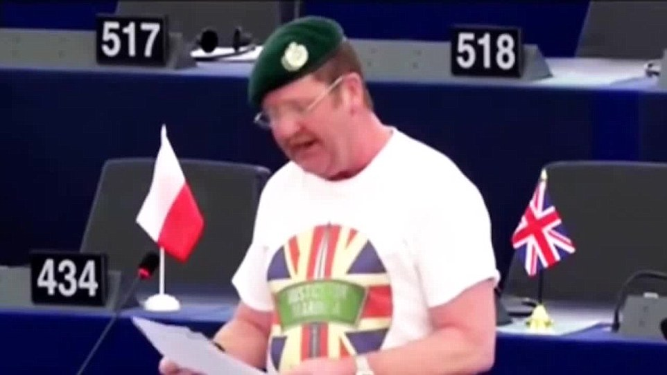 Mr Woolfe claimed fellow MEP Mike Hookem, pictured, 'came at him and landed a blow' but Mr Hookem denies this and said Mr Woolfe 'tripped over'