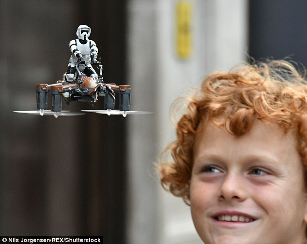 A new range of Star Wars-themed drones, pictured, could top the Christmas toy must-have list