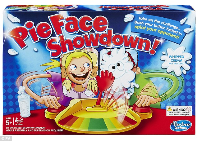 Toy store Hamleys has predicted what it expects to be the top 10 sellers this festive season, including a game that smacks players in the face with a wet sponge or cream. The £25 Pieface Showdown (pictured) is already a hit on social media