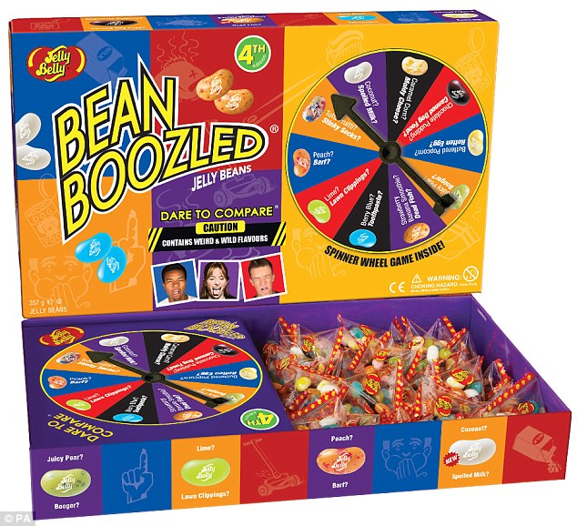 The fourth edition of the BeanBoozled spinner game (pictured), also £25, will have players risking eating jelly beans flavoured to taste like rotten fish and spoiled milk