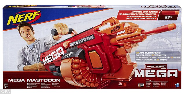 The £90 Nerf Mega Mastodon is the first motorised blaster in the range, and comes complete with a shoulder strap and 24 darts