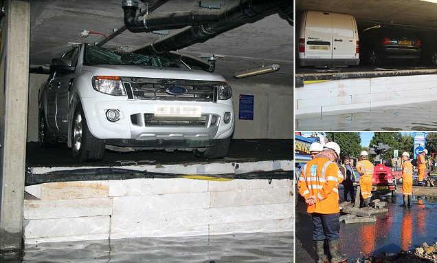 Vehicles are CRUSHED against the roof as a burst water main causes polystyrene insulation