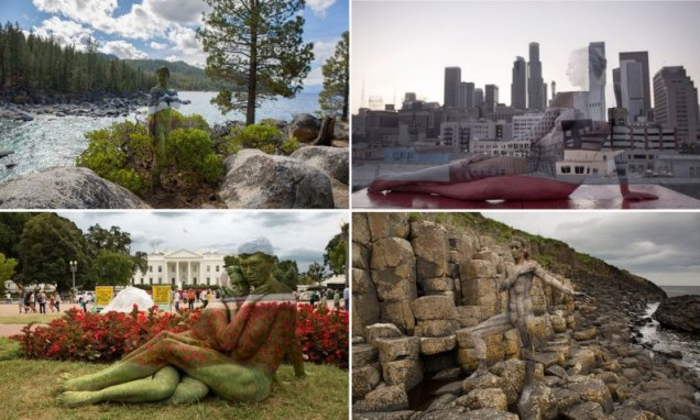 Naked models use body paint to perfectly camouflage against variety of famous landmarks