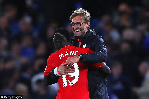 Mane embraces the German coach after victory against Chelsea on September 16