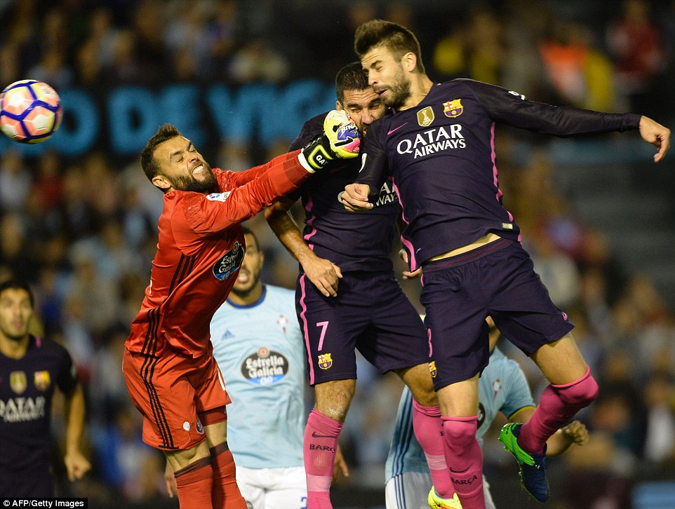 Defender  Pique headed in Barcelona's first goal against Celta Vigo in the 58th minute of the match