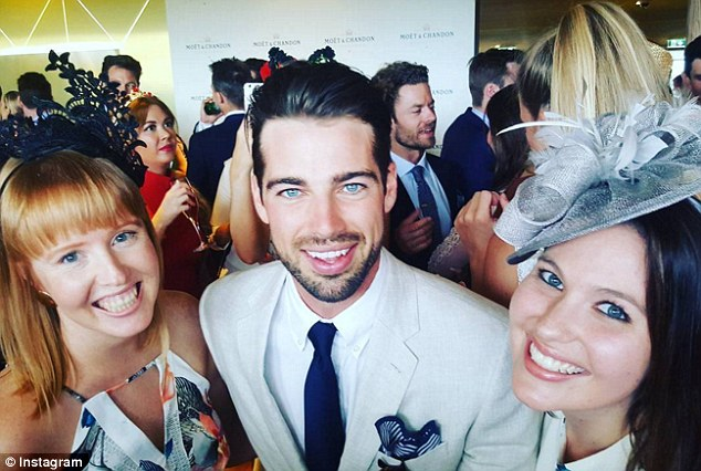 Ladies' man: While attending Sydney Spring Racing Carnival on Saturday, The Bachelorette's Sam Johnston had plenty of women placing their bets of affection on him