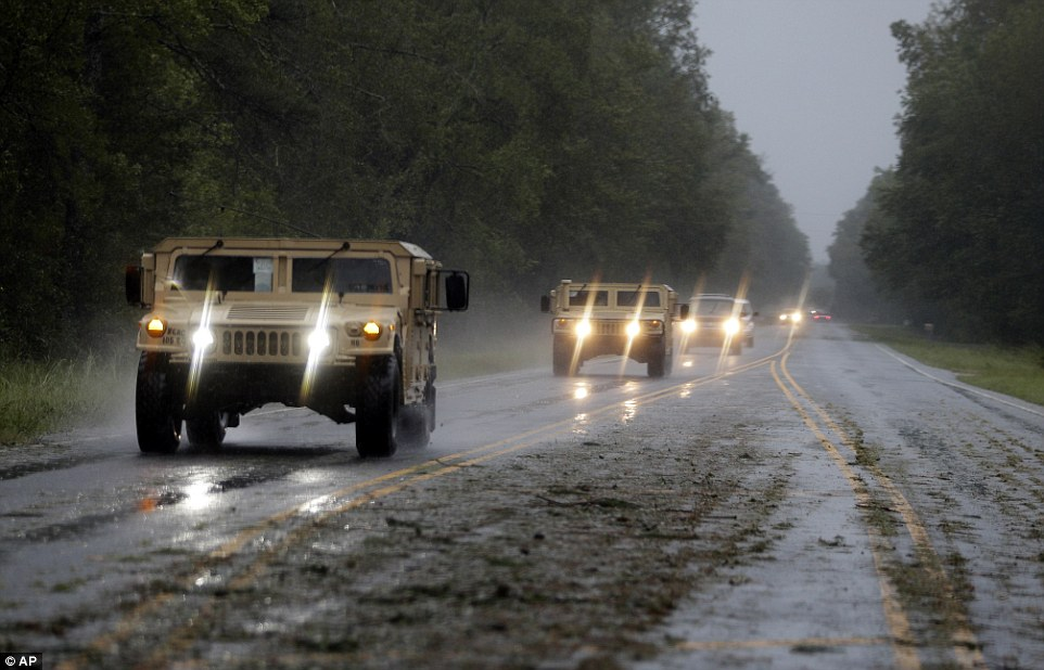 Military vehicles descended on the town of Wagram, North Carolina, to help lessen the devastation and rescue anyone stranded in floods on Saturday