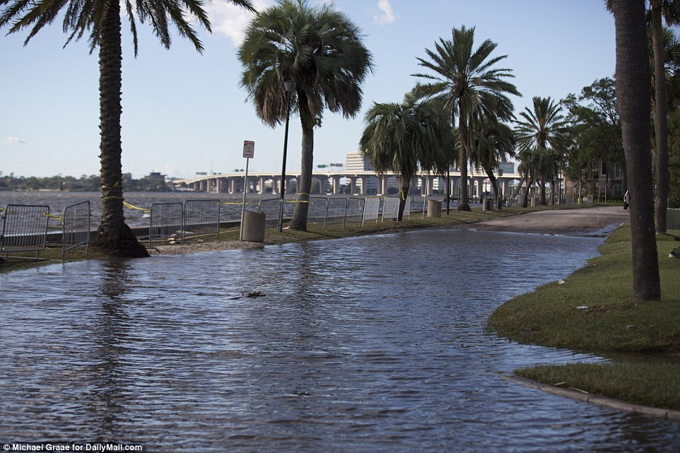 In Jacksonville, Florida, water flooded the streets on Saturday. Jacksonville was one of the final places in Florida to be struck by the storm