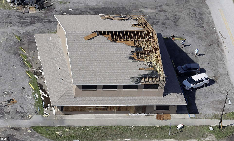 This aeria photo shows a partially torn off roof in St Augustine, Florida. one of the hardest-hit areas, on Saturday afternoon