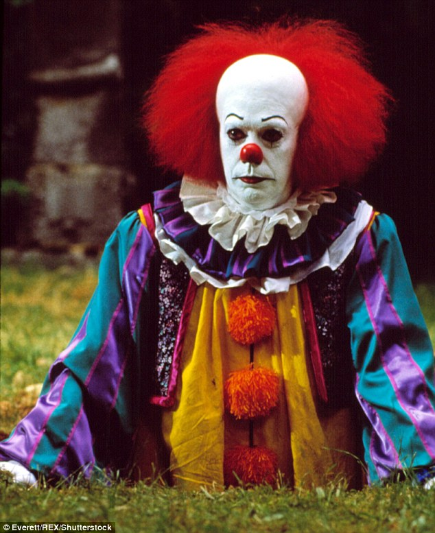 There has been speculation that the sightings are linked to remake of Stephen King's 'It' - which features Pennywise the clown (pictured)