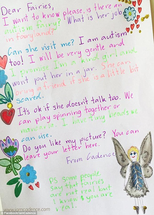 Recently she wrote a letter to the 'fairies' asking them is there was an 'autism fairy'