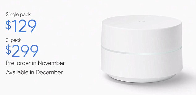 Google also showed off Google Wifi, a new $129 home router that can boost speeds.