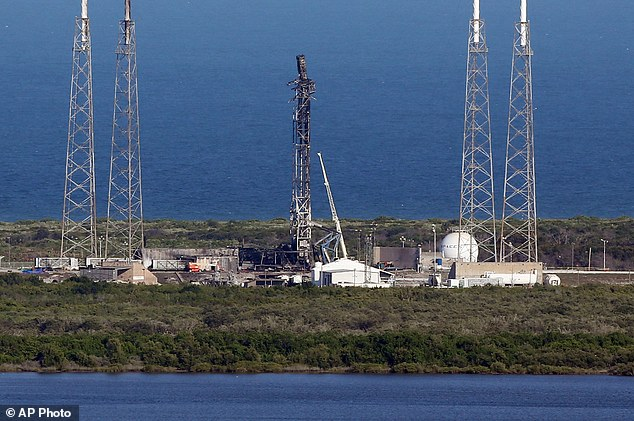 SpaceX's launch pad at Cape Canaveral Air Force Station in Florida was destroyed (pictured) by the explosion at the start of September. The company is nearing completion of a new launch pad at the nearby Kennedy Space Centre