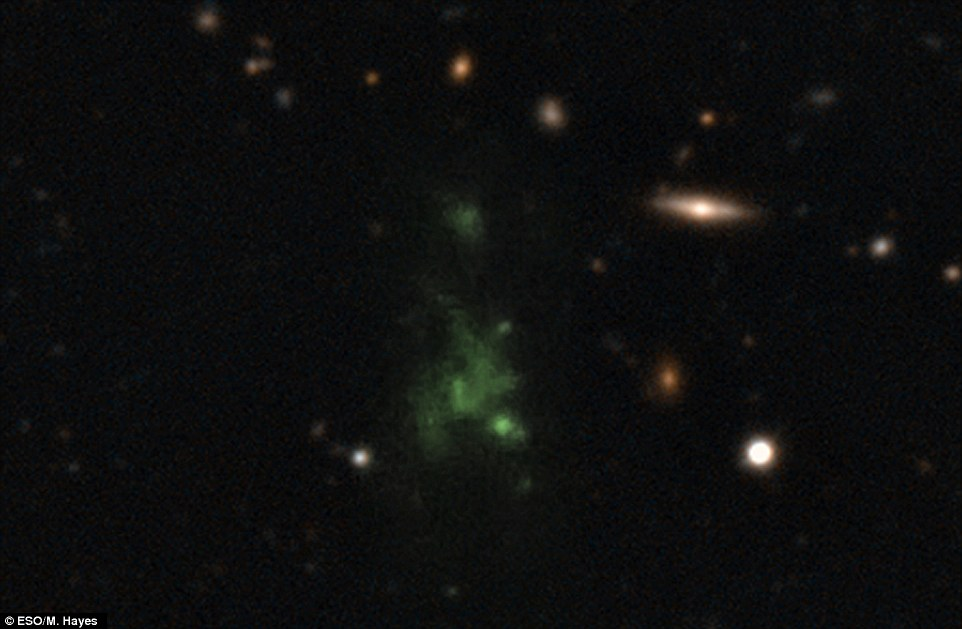 This  image shows one of the largest known single objects in the Universe,  the Lyman-alpha blob LAB-1. The intense Lyman-alpha ultraviolet radiation from the blob appears green after it has been stretched by the  expansion of the universe during its long journey to Earth