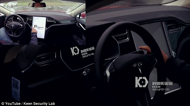 In the demonstration, Tencent researchers took over the display on a Tesla Model S (pictured). After this they were able to engage the brake on a moving Tesla S, turned on its windshield wipers and open the boot