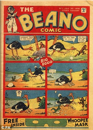 Smart move: The first comic in 1938 and, right, the new Beano phone app