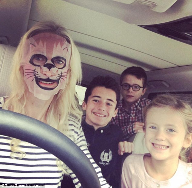 The mother-of-three, pictured on the school run wearing one of her new sheet masks from Face inc - her company's latest offering - says her golden advice for juggling motherhood with business is asking your kids what is important to them in terms of mummy time, what they want from you, rather than what you think is important